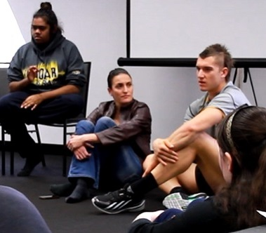 Richmond midfielder, Dustin Martin speaks to REAL Program participants.