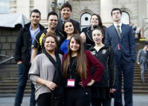 Back: Greg Kennedy (Koorie Youth Council), Dylan Burns, Lillian Arnold-Rendell, Jake Berthelot Middle: Luke Murray (KGI), Kzanne Atkinson, Lily Graham (KGI)                 Front: Debby Walker (VEC), Tahlia Biggs