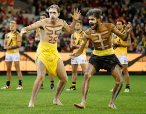 MELBOURNE, AUSTRALIA - MAY 28: Richmond perform their war cry during the 2016 AFL Round 10 Dreamtime at the G match between the Essendon Bombers and the Richmond Tigers at the Melbourne Cricket Ground on May 28, 2016 in Melbourne, Australia. (Photo by Adam Trafford/AFL Media)