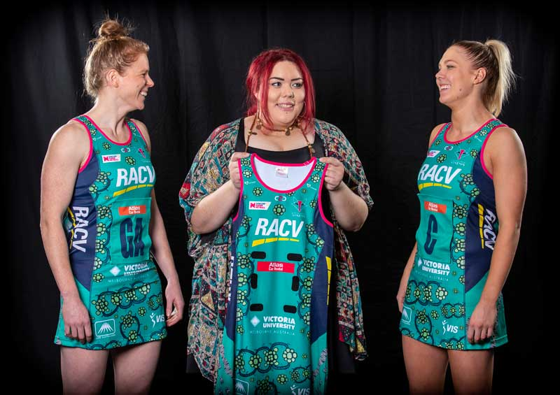 KGI alumna, Nakia Cadd designs first ever Indigenous dress for Melbourne Vixens
